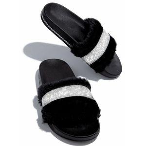 Just In! 💎🖤Luxury Diamante Slide Sandal - BLACK